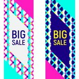Two abstract geometric banner backgrounds, memphis style. Two abstract geometric backgrounds, different geometric shapes. Sample text - Big Sale. Memphis style vector illustration