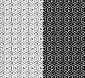 Two abstract geometric monochrome seamless patterns royalty free illustration