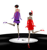 Two abstract girls dancing. Old phonograph record and two abstract girls dancing stock illustration