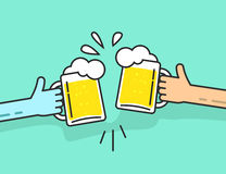 Two abstract hands holding beer glasses with foam clinking Royalty Free Stock Image