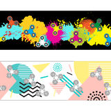 Two abstract headers with fidget spinners for you website design. Vector geometric background. Vector colorful splashes. Horizontal banner set templates vector vector illustration