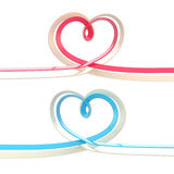 Two abstract heart symbol made of ribbon isolated Stock Image