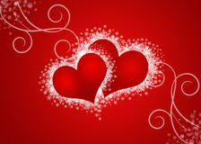two abstract hearts in red background vector illustration