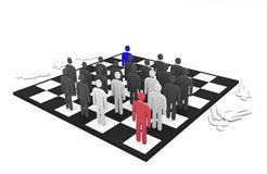 Two abstract men teams battle on a chessboard. Concept winning and losing Stock Photo