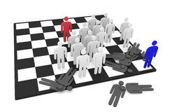 Two abstract men teams fight on a chessboard Royalty Free Stock Photography