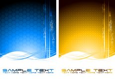 Two abstract tech banners. With waves (vertical position Stock Image