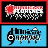 Two abstract vector mnemonic designs with rain and thunderstorm symbols of Hurricane Florence Royalty Free Illustration