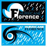 Two abstract vector mnemonic designs with rain and thunderstorm symbols of Hurricane Florence Vector Illustration