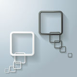 Two Abstract White And Black Rectangle Speech Bubble. Two abstract rectangle speech bubbles on the grey background. Eps 10  file Royalty Free Stock Photography