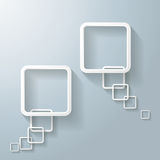 Two Abstract White Rectangle Speech Bubble. Two abstract rectangle speech bubbles on the grey background. Eps 10  file Stock Image