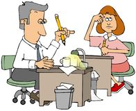 Two accountants at their desks. Illustration of male and female accountants sitting at desks with pencils in their hands royalty free illustration