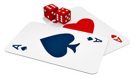Two ace cards and two dice Royalty Free Stock Photos