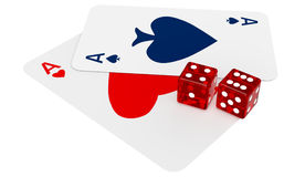 Two ace cards and two dices Royalty Free Stock Photography