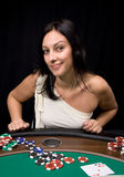 Two ace in casino. Pretty caucasian girl shows two aces in casino poker and win stock photos