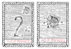 Two and ace of pentacles. The tarot card. Stock Images