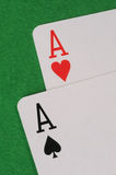 Two Ace Playing Cards. On green table Royalty Free Stock Photo