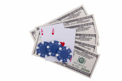 Two ace and poker chips with dollars Stock Image