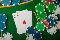Two ace in poker game Royalty Free Stock Photo