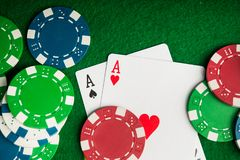 Two ace in poker game Stock Image