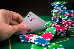 Two ace in poker game Stock Photos