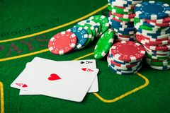 Two ace in poker game Stock Photo