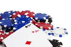 Two aces on chips Royalty Free Stock Photography