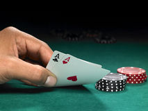 Two aces and chips Stock Photography