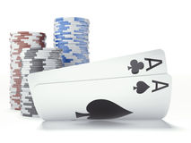 Two aces with chips Royalty Free Stock Photo