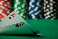 Two aces close up Royalty Free Stock Photo
