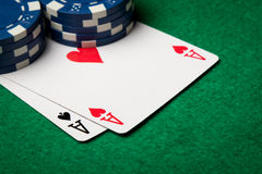 Two aces close up Royalty Free Stock Images