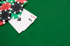 Two aces and gambling chips Stock Photography
