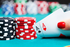 Two aces and gambling chips Royalty Free Stock Photos