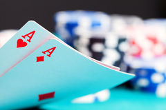 Two aces and gambling chips Royalty Free Stock Photography