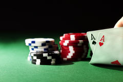 Two aces on green table Royalty Free Stock Photos
