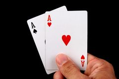 Two aces hand Stock Photo