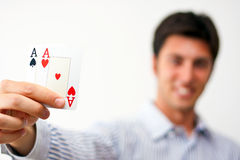 Two aces in hand Royalty Free Stock Image