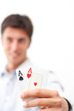 Two aces in hand Stock Photo