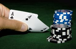Two aces in hand Stock Image