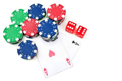 Two aces and poker chips stock images