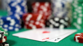 Two Aces And Poker Chips stock footage
