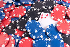 Two aces red and poker chips. Two aces  redand poker chips right Royalty Free Stock Photos