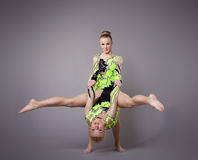 Two acrobats demonstrate skill Royalty Free Stock Photography