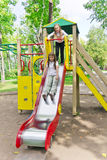 Two active girls on nursery platform Royalty Free Stock Photography