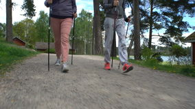 Two active women do Nordic walking in the Park. Tracking shot. stock footage