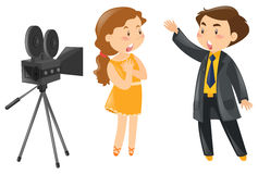 Two actors acting out in front of camera Royalty Free Stock Photos