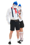 Two actors in stage costumes Stock Photos