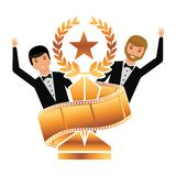 Two actors waving hand with gold trophy laurel star strip film. Vector illustration Stock Images