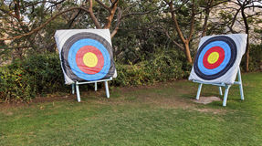 Two adjascent archery range bulls eye targets Royalty Free Stock Image