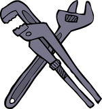 Two adjustable wrenches. Cartoon doodle two adjustable wrenches  illustration Royalty Free Stock Photo