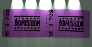 Two admission tickets. For cinema or other event stock photo